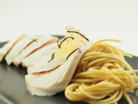 Poached Chicken with Ramen Noodles and Ginger and Sansho Pepper Flavour Pearls