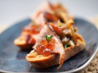 Roast Duck and Caramelised Onions with Spiced Cranberry Flavour Pearls