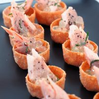 Smoked trout Tartlets with Lemon & Black Pepper flavour Pearls