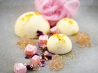 Vanilla Panna Cotta with Floss, Turkish Delight and Rosewater Flavour Pearls