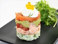 Salmon Tian with Tangerine Flavour Pearls
